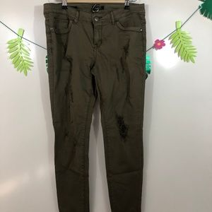 Rue 21 Army Green Ripped Jeans